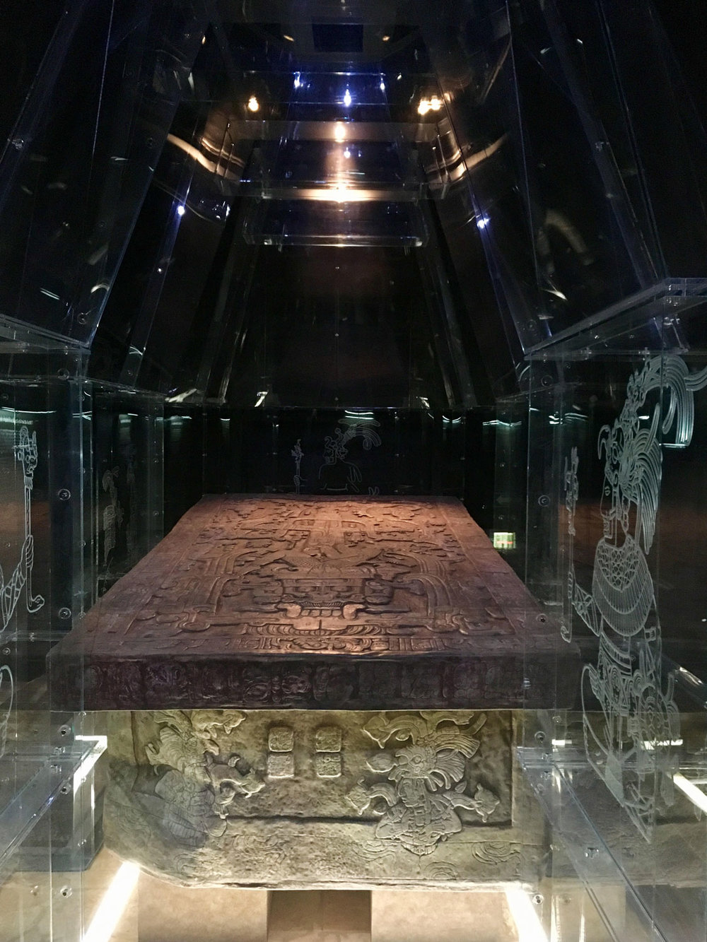 Pakal's tomb in Palenque museum.