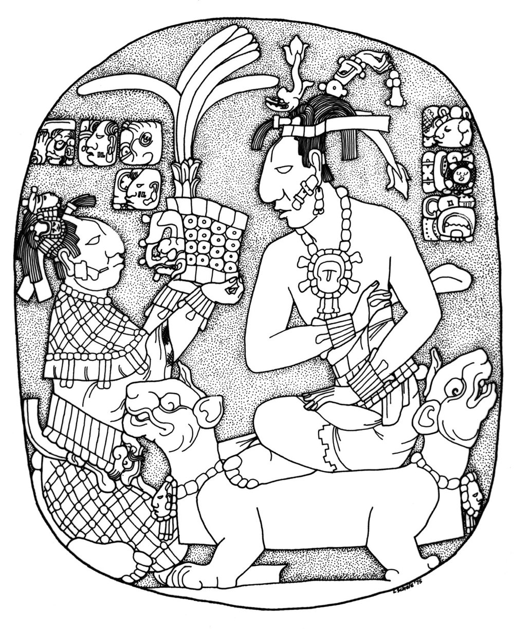 The Oval Palace Tablet: Lady Sak K'uk' offering her son the crown. Drawing by Linda Schele:  research.famsi.org .