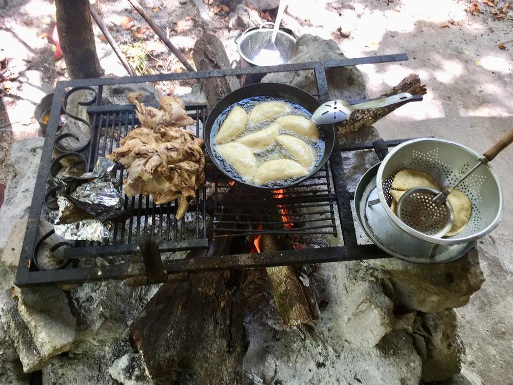Chicken and empanadas.
