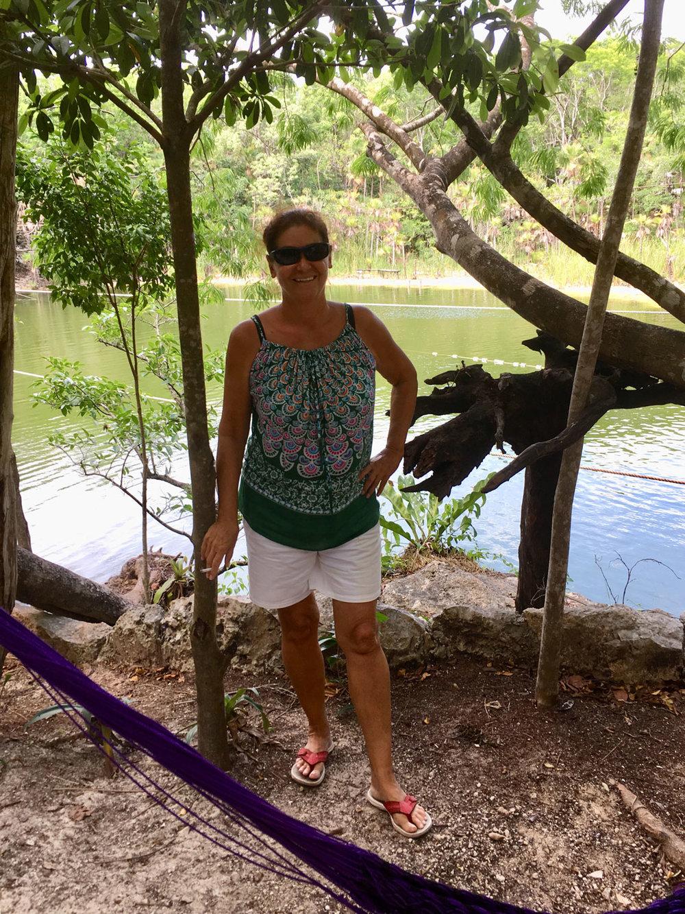 I enjoy the shade under the jungle trees.