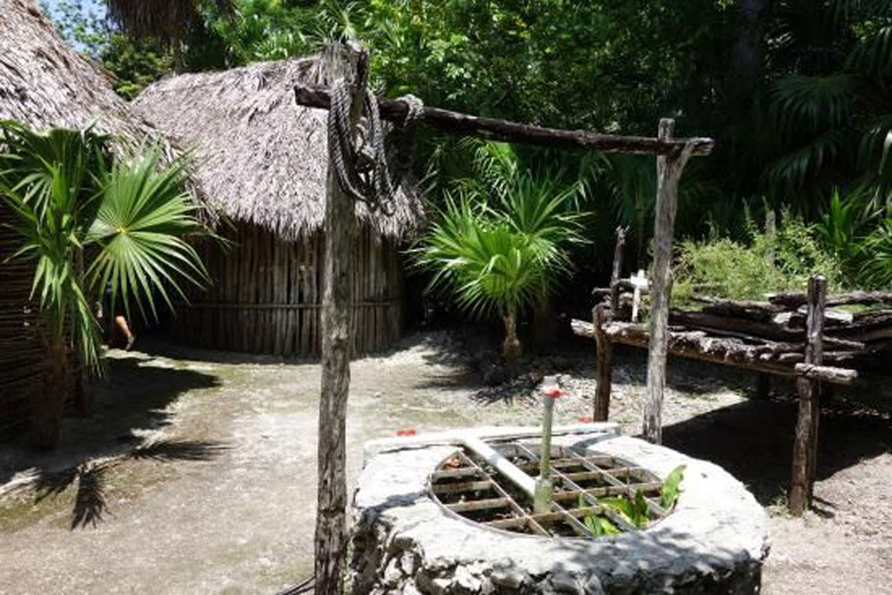 Reconstruction of a Mayan village housing and gardens.