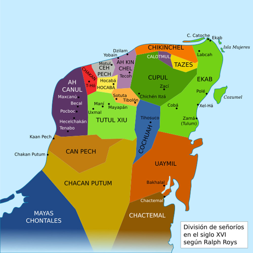 Maya provinces in the 16th century:  wikipedia.org .