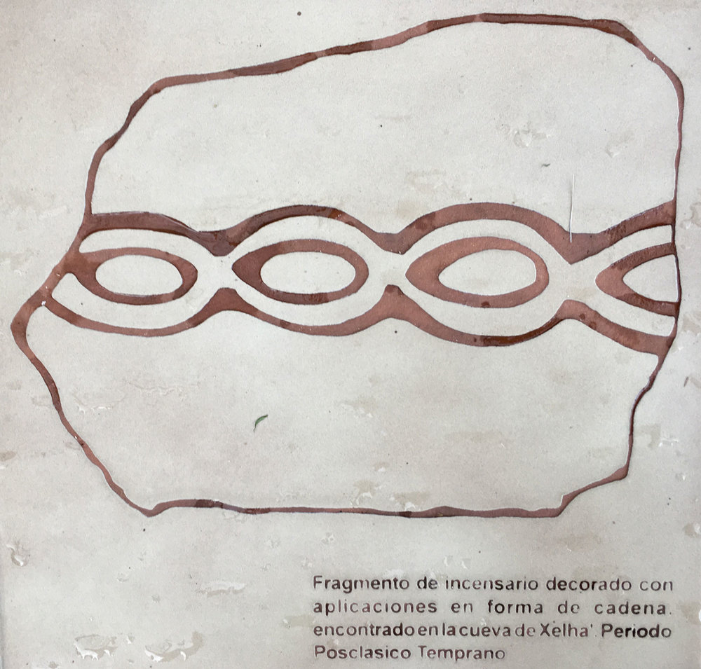Fragment of the decorated censer found at Xel Há site cave.