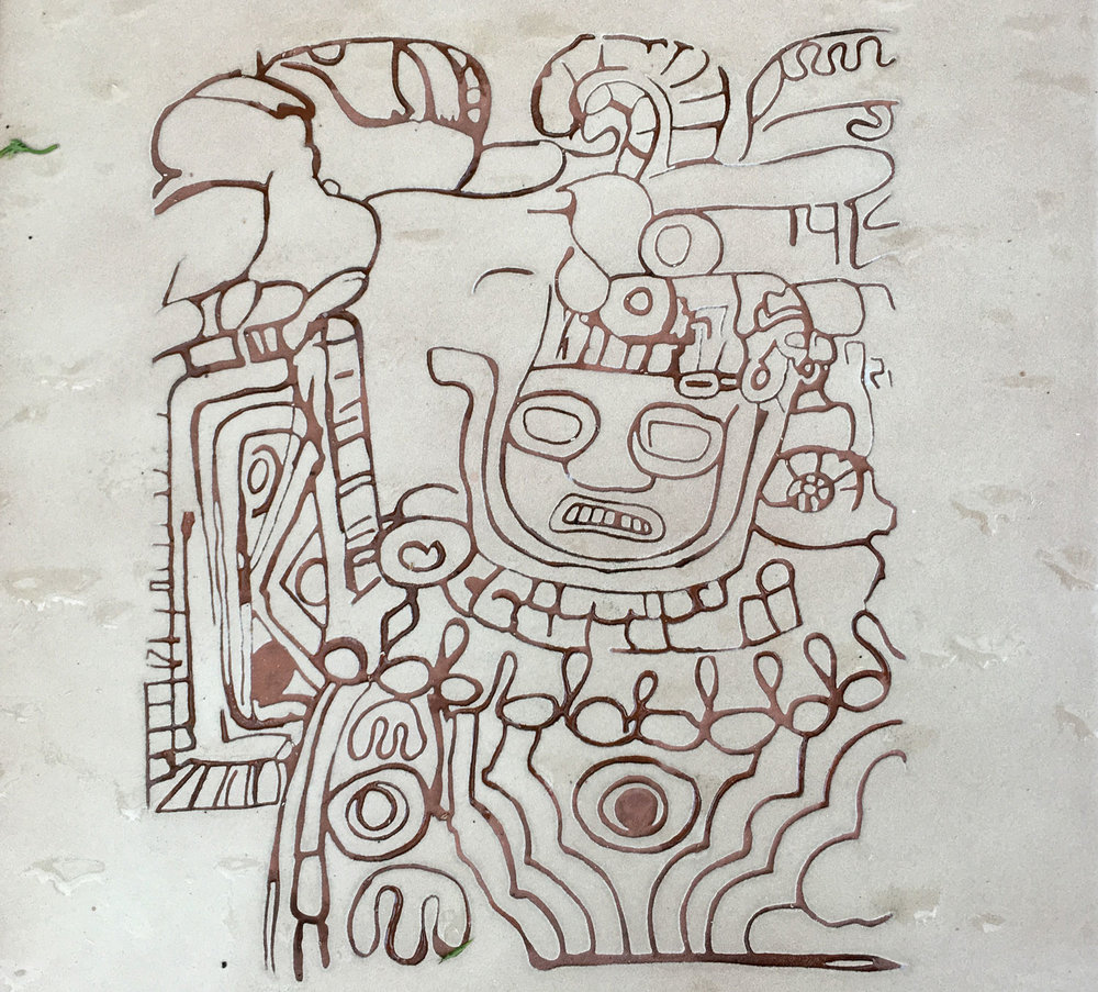 The zoomorphic figure: drawing on the INAH plaque.