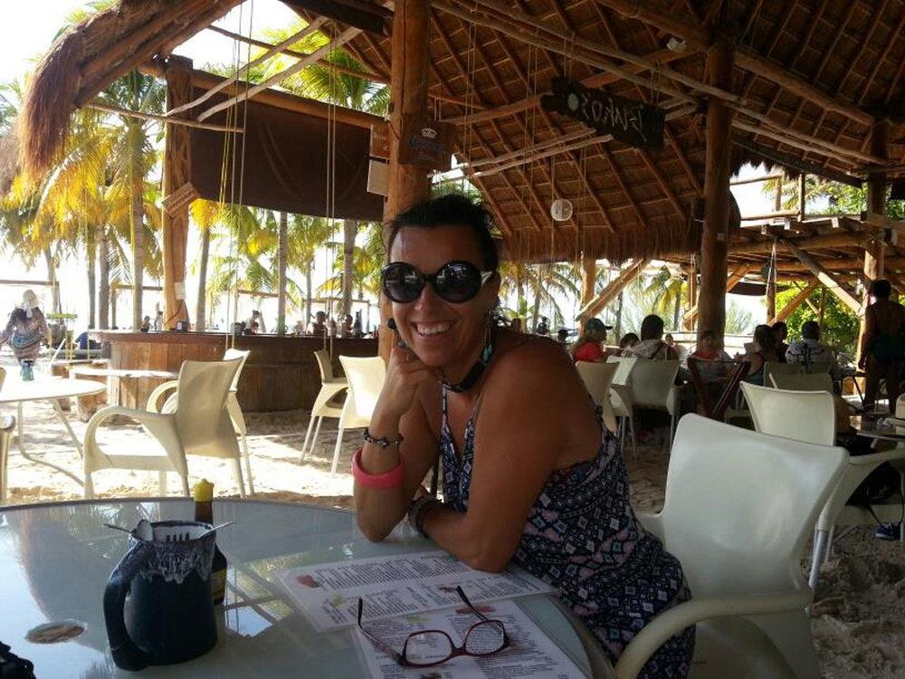 My friend Orsi at Hotel Cabañas María del Mar, the beach bar.