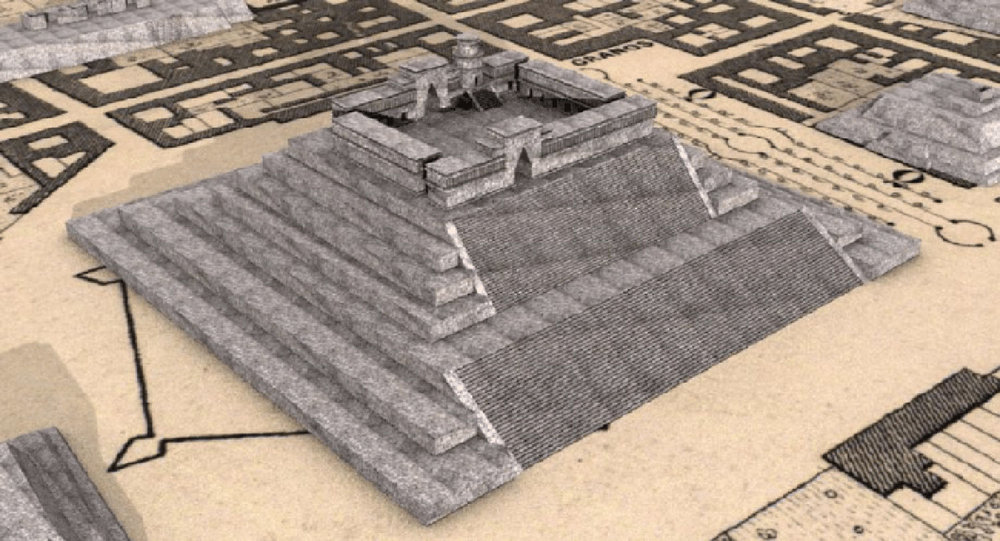 Virtual reconstruction of the ancient pyramid:  researchgate.net .