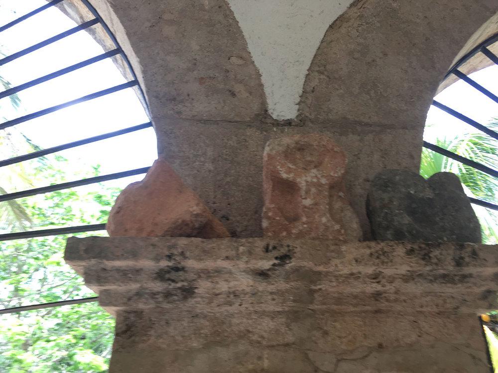Maya ancient artefacts on the veranda.