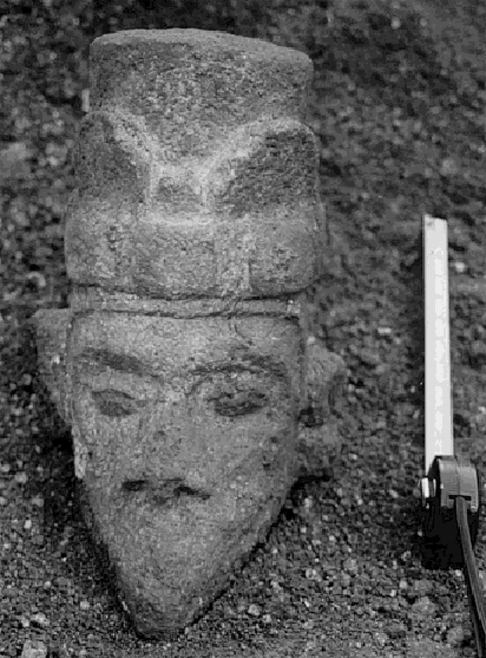 Limestone head suggests links with Central Mexico. Source:  researchgate.net .