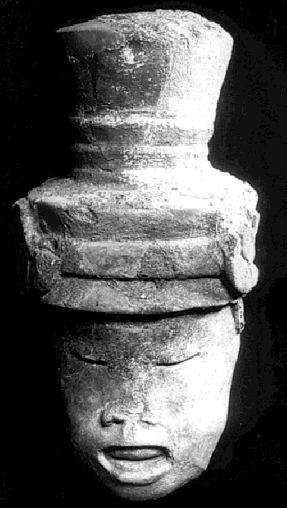 Deity head of Xipe Totec, a god associated with human sacrifice among the Aztecs. Source:  researchgate.net .