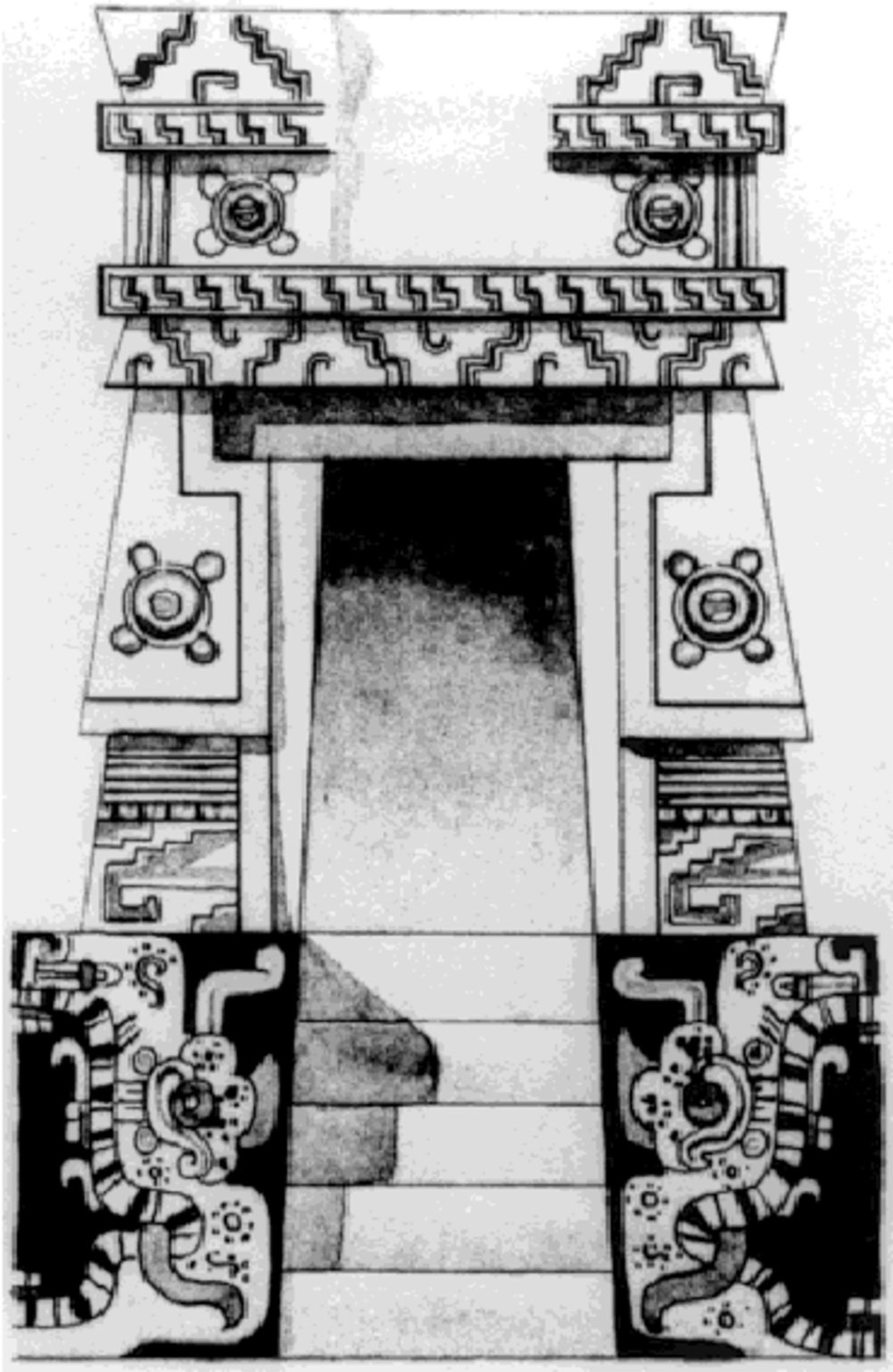One of five miniature temples in Room 1 in the Temple of the Niches (Q80), by Tatiana Proskouriakoff. Source:  www.researchgate.net .
