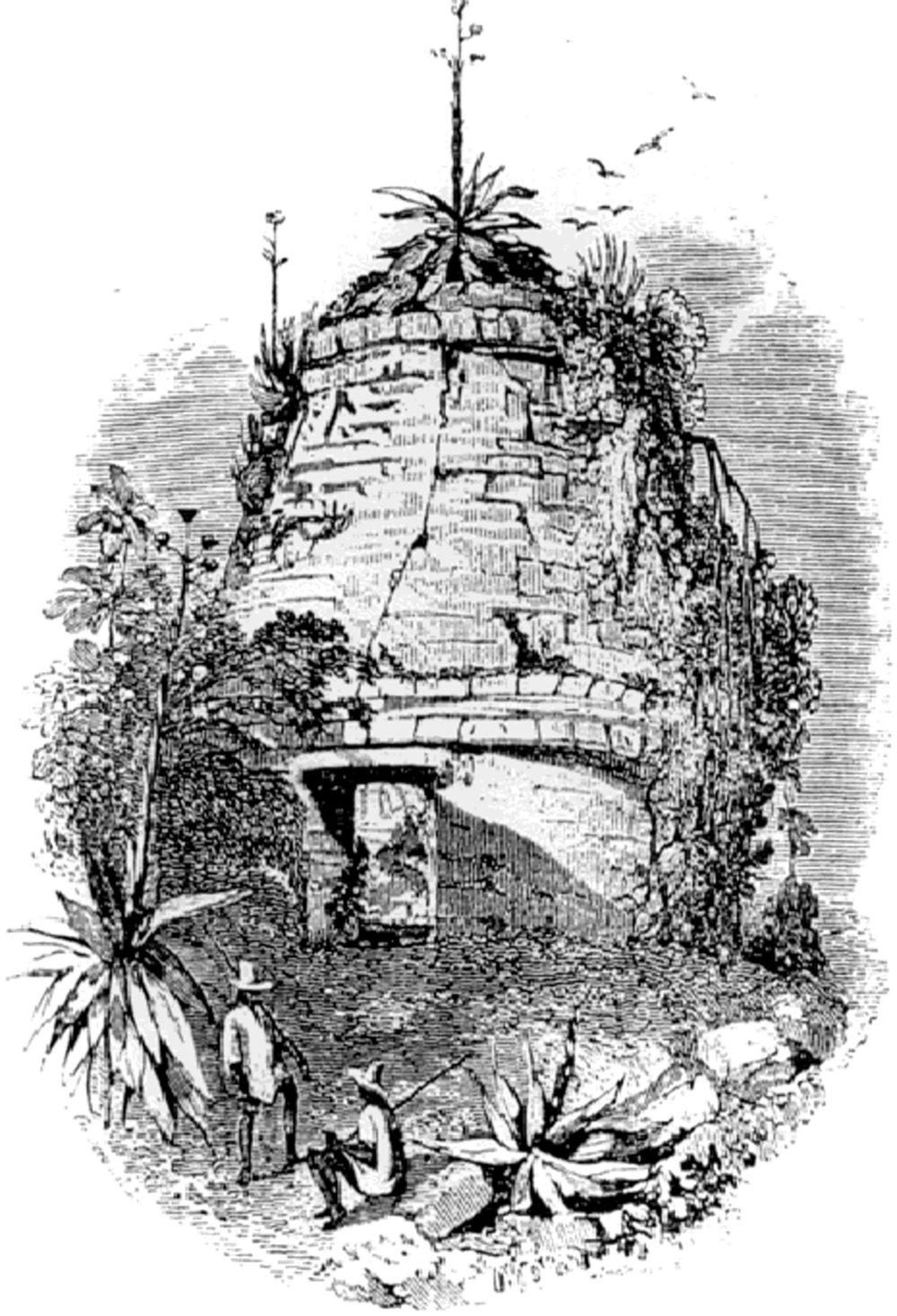 Round Temple. Frederick Catherwood's drawing, before it was struck by lightning. Source:  researchgate.net  .