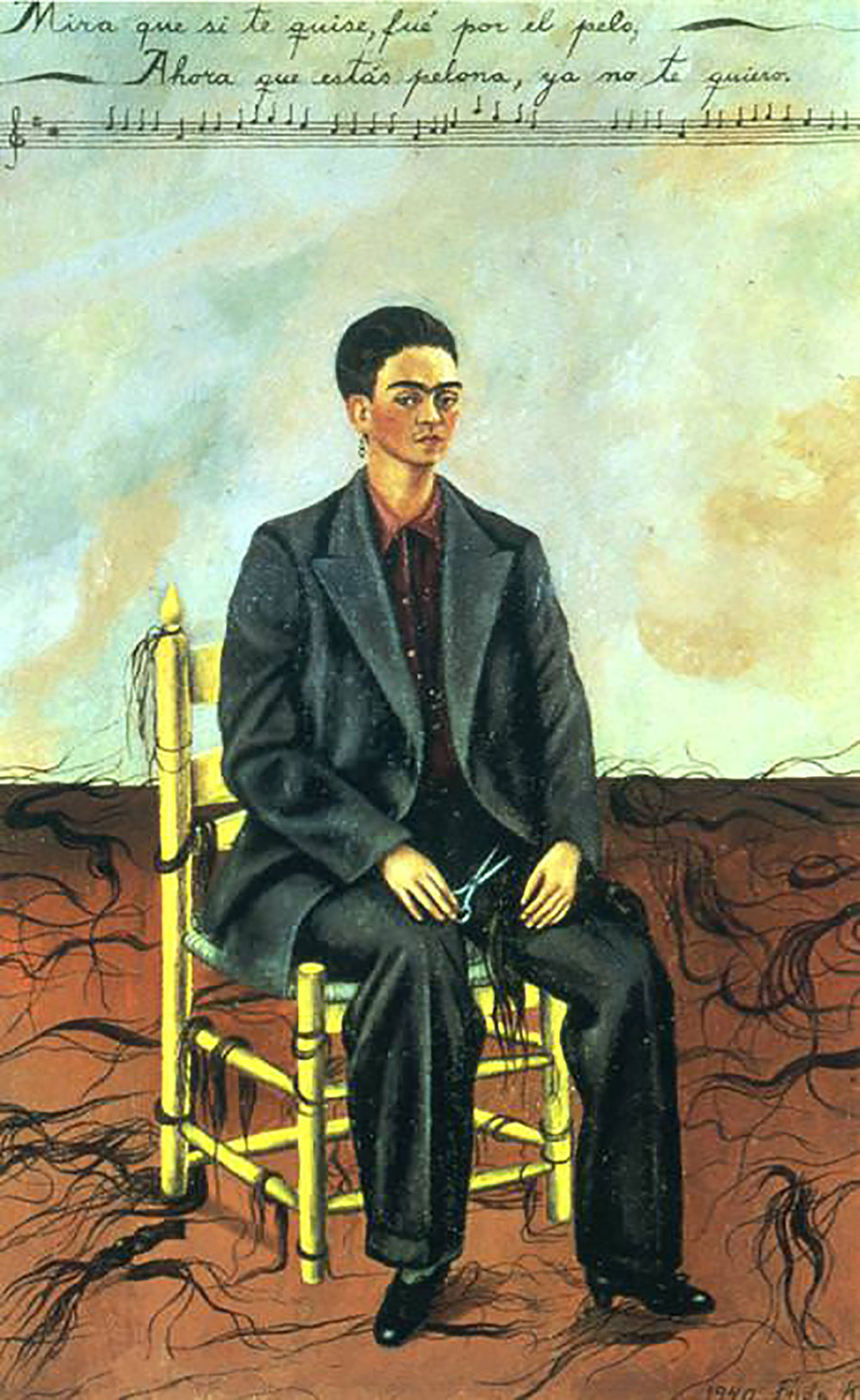 Self Portrait with Cropped Hair, 1940. Frida cut the hair that Diego loved when he had affairs:  wikiart.org .