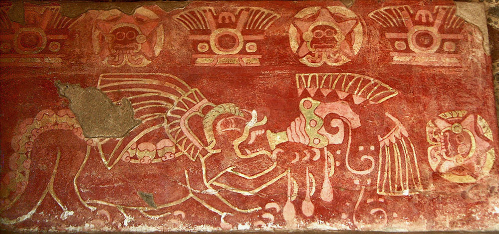 Mural from the Temple of the Jaguars, a symbol of warfare. A jaguar (a symbol of military order of jaguar) is blowing a feathered conch shell that drips with blood (a symbol of extracted heart). Conch shells were trumpeted before armies were led into battle. Photo by Robin Heyworth:  uncoveredhistory.com .