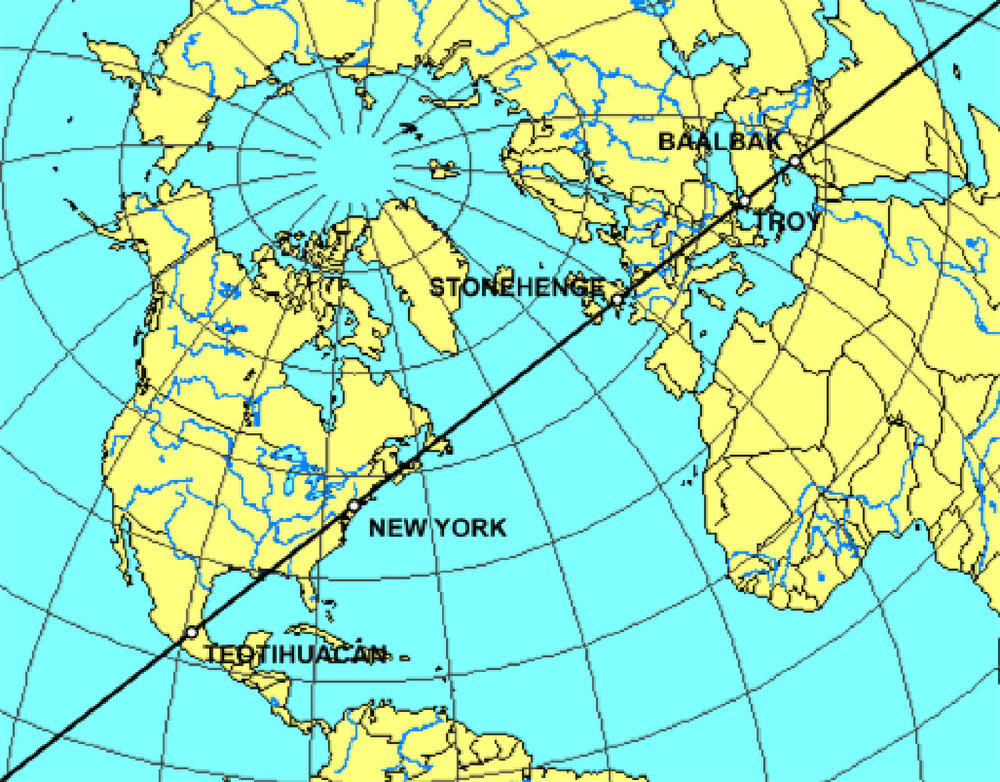 The alignment of Teotihuacán, Stonehenge and Troy (along the ley lines):  thenarrowgateweb.com .
