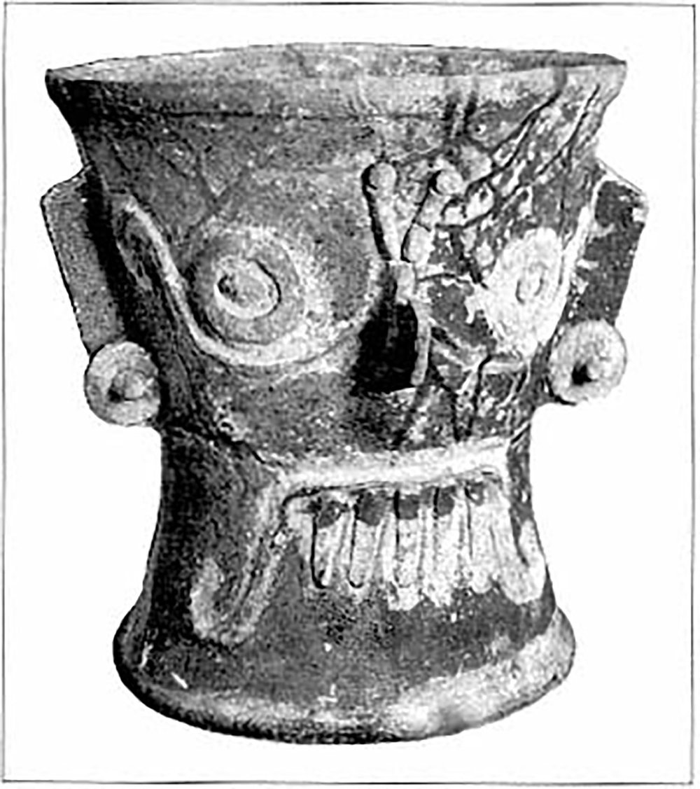 Mayan Rain God Chac with goggles, painted ceramic urn, Balankanché Cave, Yucatán:  publishing.cdlib.org .
