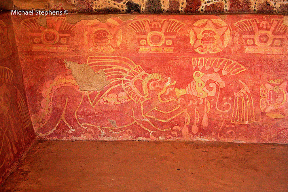 Mural painting from Teotihuacán (200-650 AD): the goggled-eyed Tláloc as a five pointed star, in his roles as Venus, above the figure of the jaguar. Photo by Michael Stephens:  flickr.com .