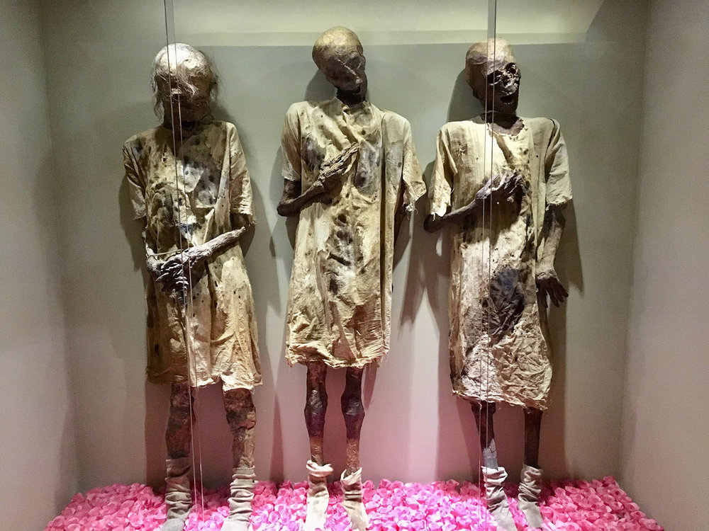Guanajuato mummies: replicas at Playa del Carmen's Museum of the Underworld (Muxi).