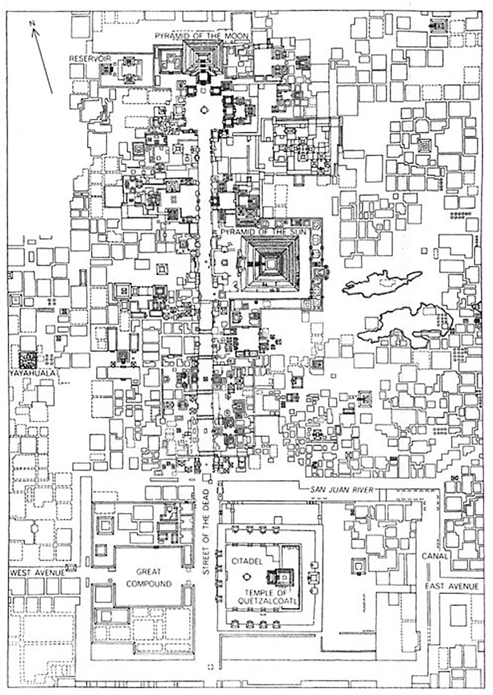 The chessboard layout of Teotihuacán:  researchgate.net .