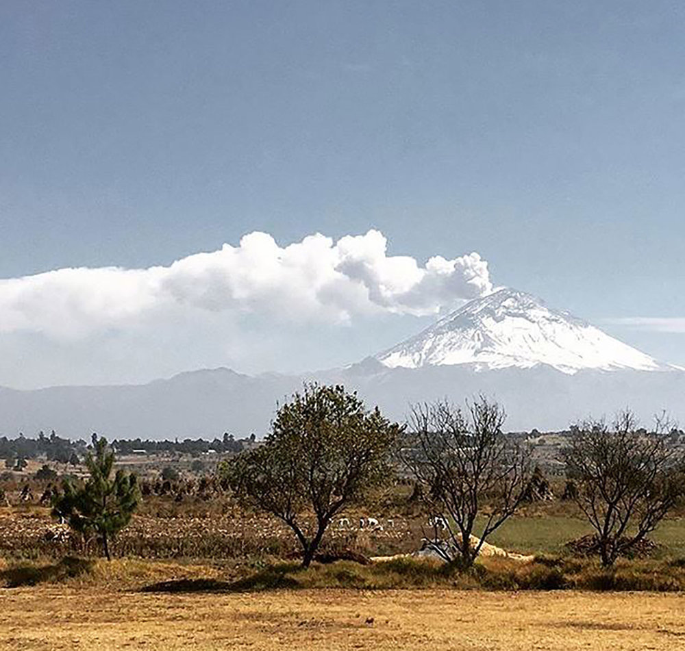 Popocatépetl as seen from the hacienda fields.