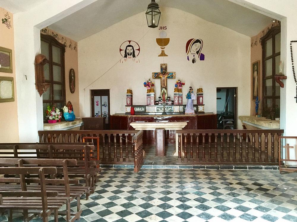 Inside the hacienda chapel.