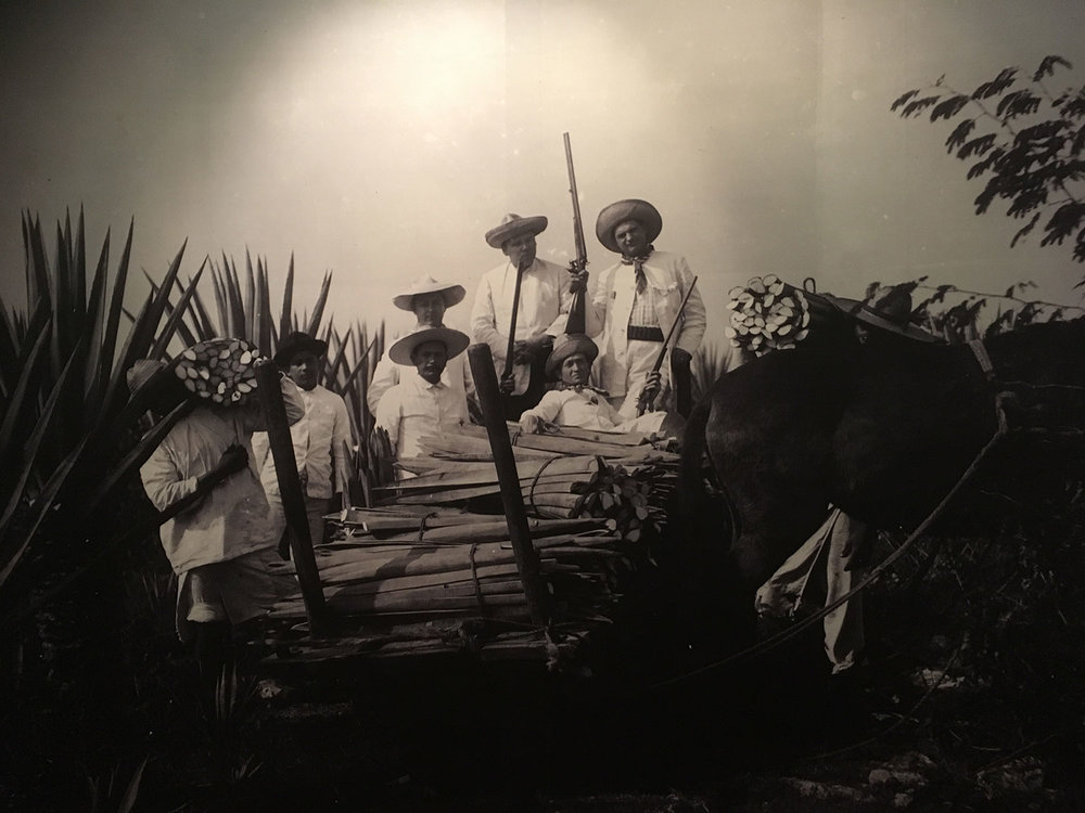 Photo from the Caste War by Pedro Guerra, taken at the Museum of the Mayan people at Dzibilchaltún.