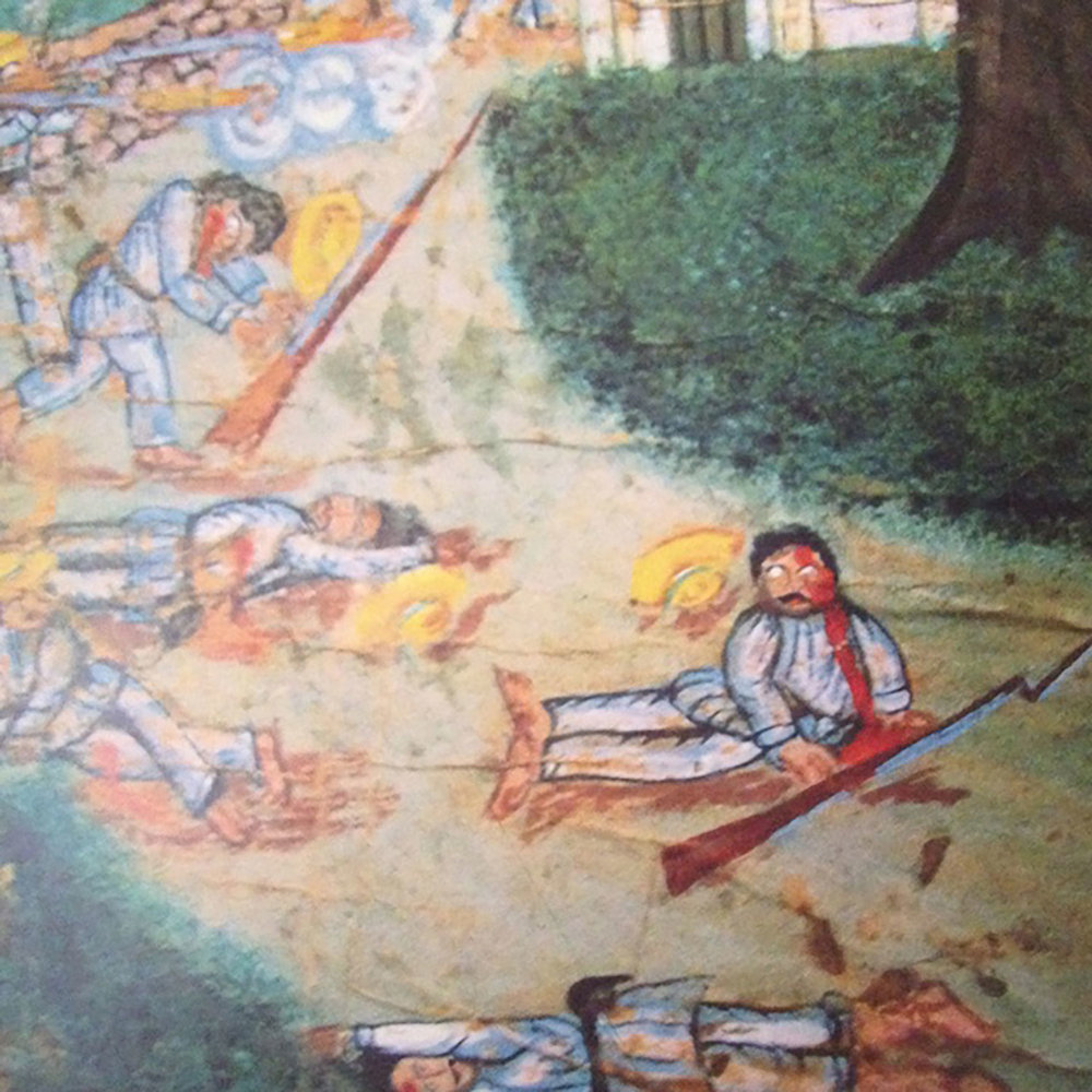 Painting of Caste War, circa 1850, from the Museum of the Mayan people at Dzibilchaltún.