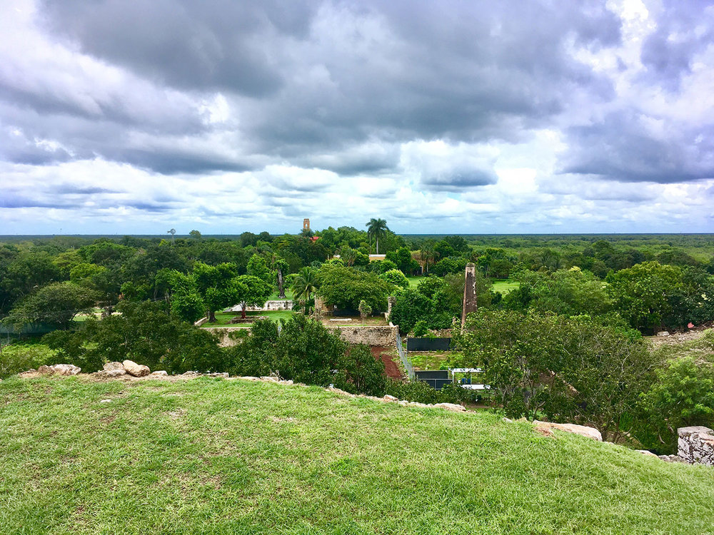 View of the hacienda from the adjacent Maya ruins of Aké.