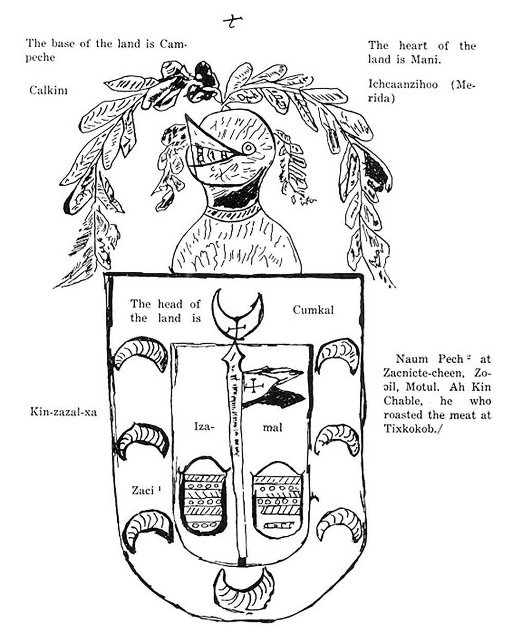 The armorial bearings of Yucatán, including Naum Pech reference. Source:  sacred-texts.com .