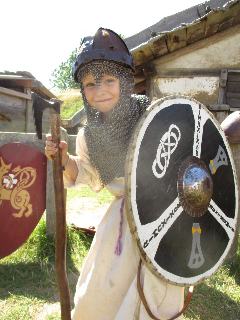 A boy dressed as a Vikings attending one of the Follow the Vikings roadshows