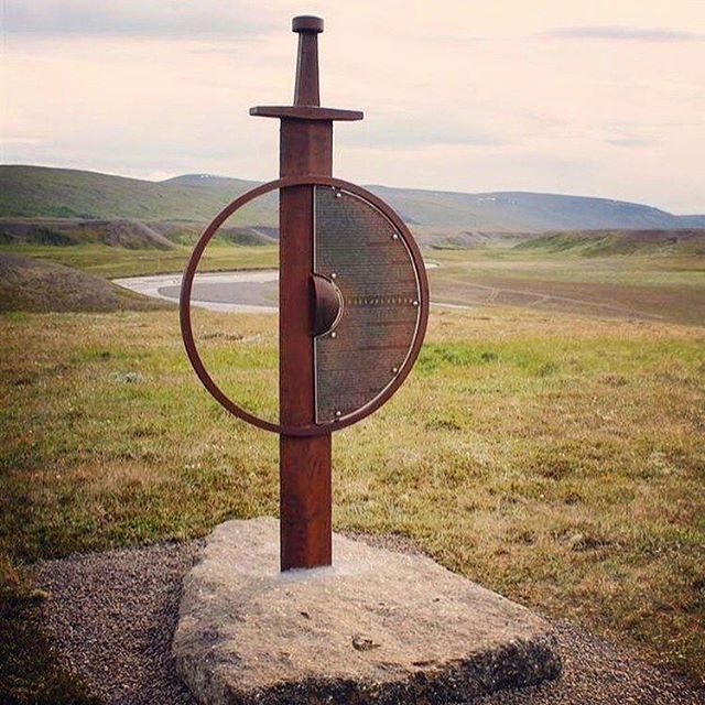 A sculpture to commemorate the Saga of Vopnafjordur stands overlooking the site where a longhouse was discovered in 2006.  Photo courtesy @sagatrail_iceland #followthevikings #inspiredbyiceland #sculpture #sculptorsofinstagram #icelandicsagas #vikingart