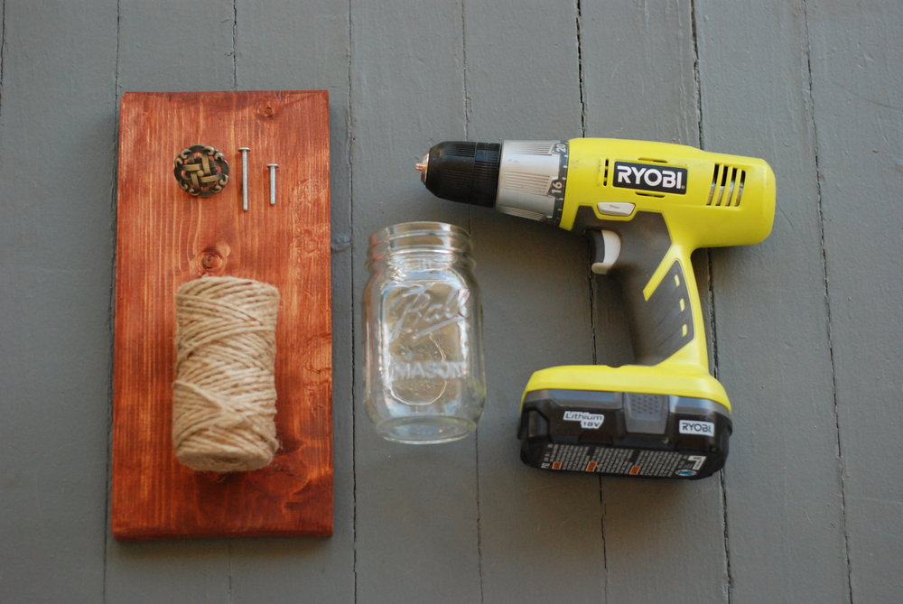 Supplies for DIY Hanging Wooden Sconces