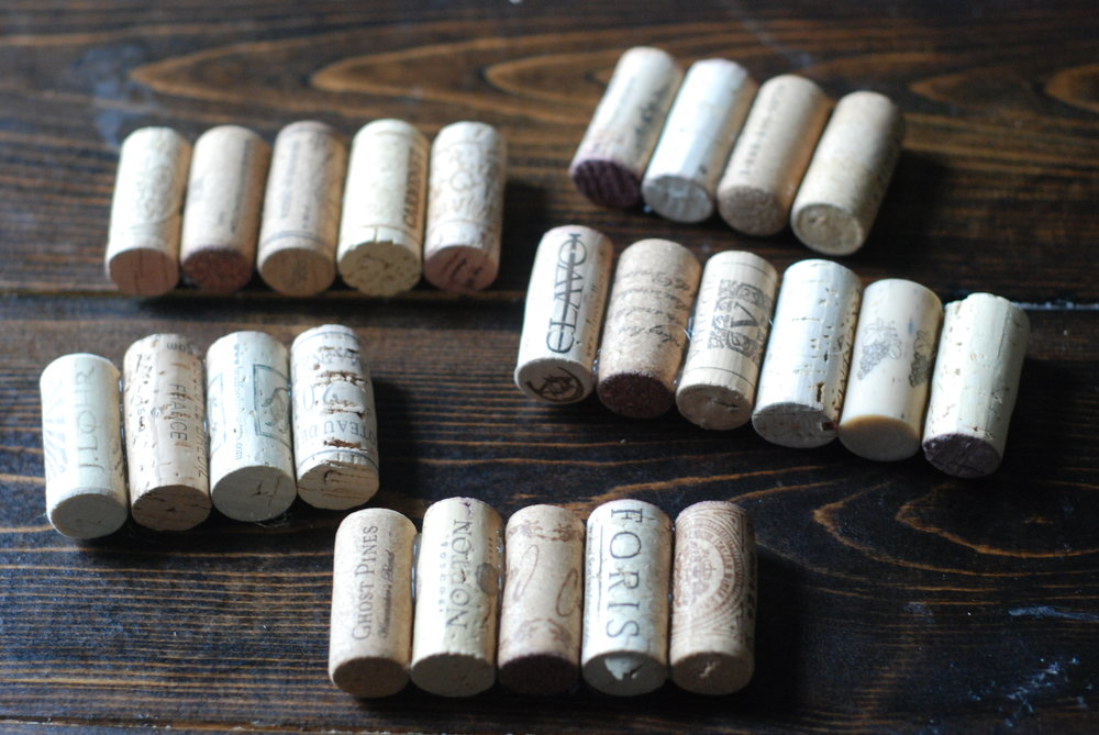 These are how your rows of corks will look after you've glued them all together