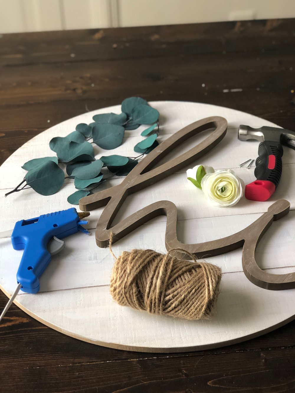 supplies for wooden door hanger
