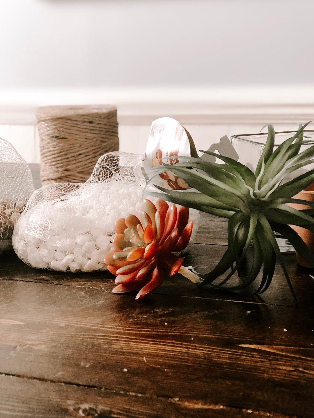 Supplies for Succulent Terrarium