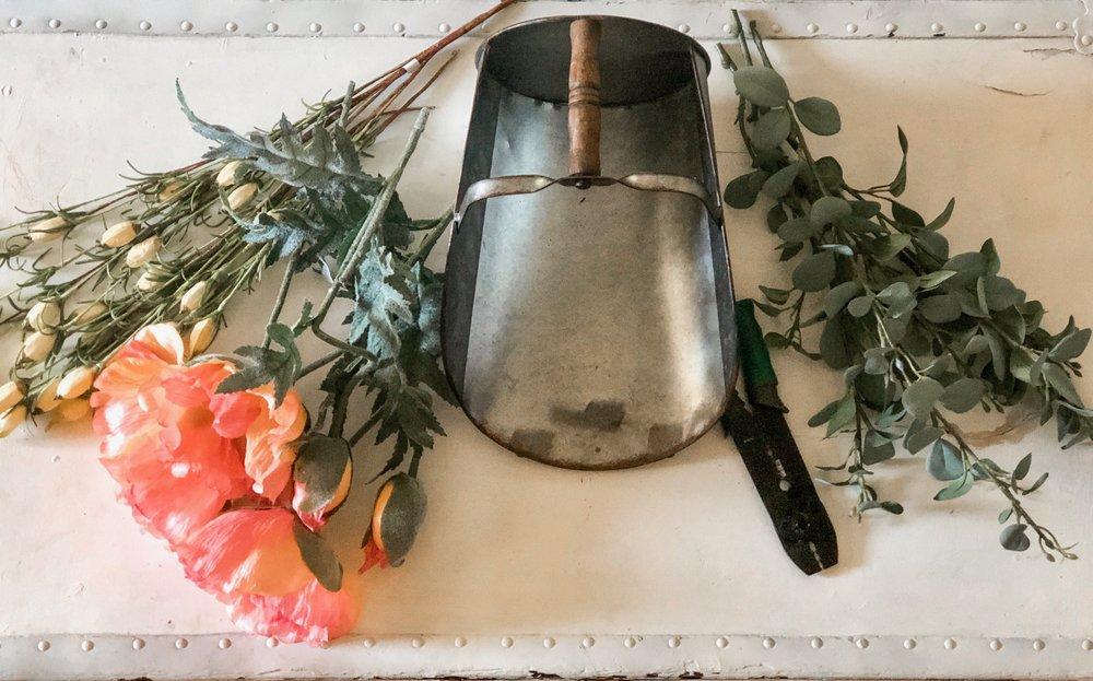 Supplies for canister flower arrangement