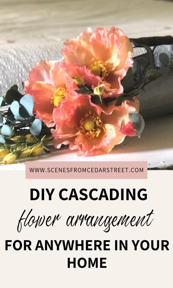 Super Simple DIY cascading flower arrangement