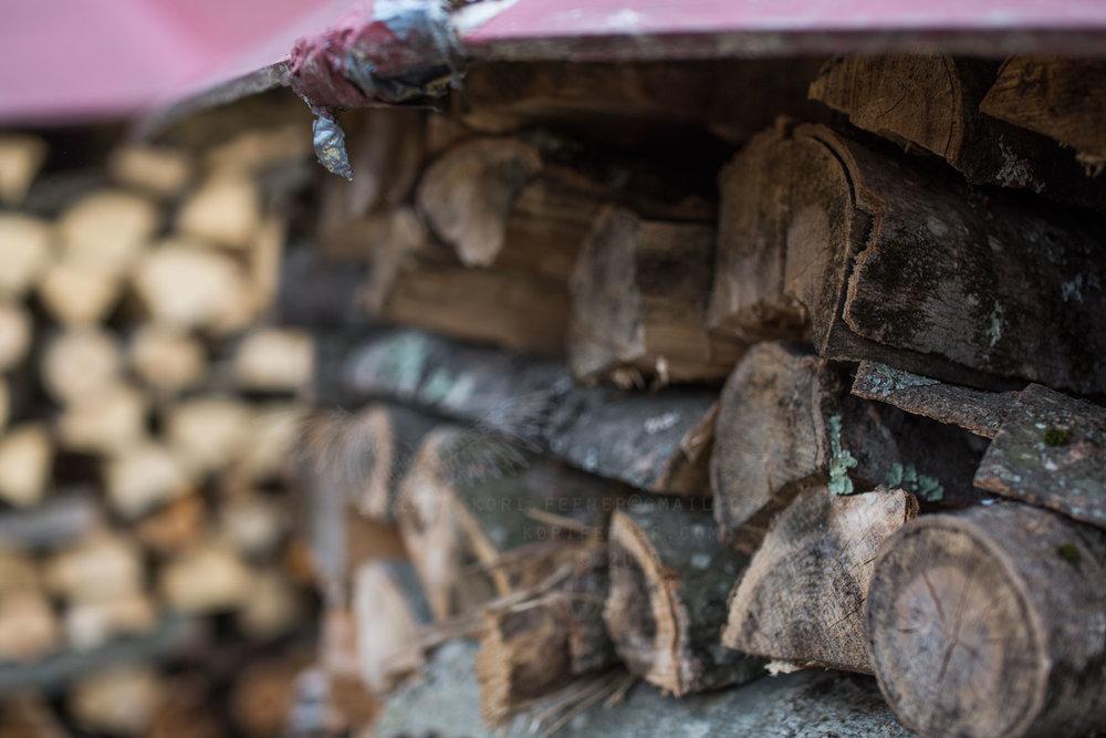 Brian Donahue's yard; pristine wood piles.