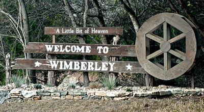 Wimberly welcome sign Wimberley Texas