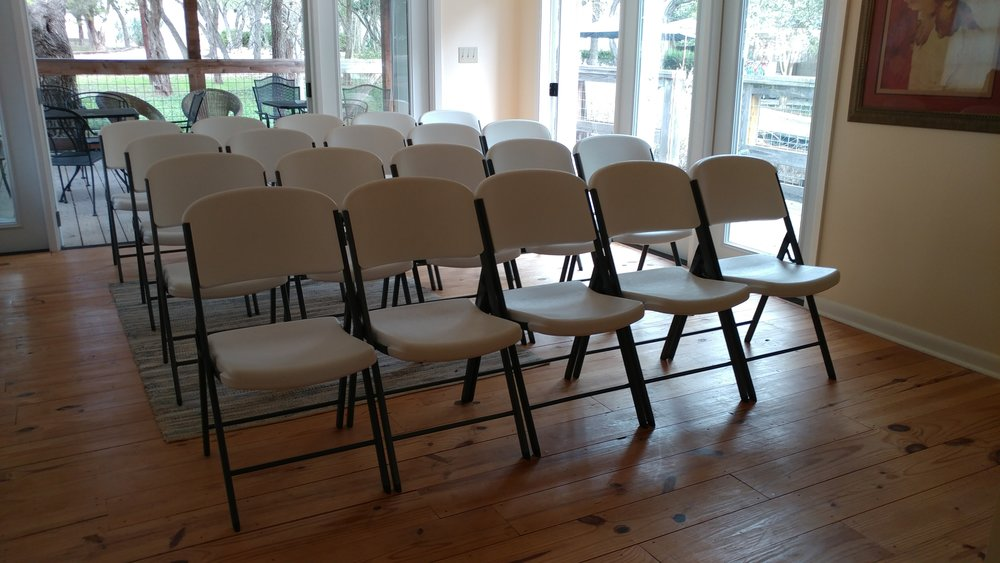 The meeting room can comfortably accommodate 20 seats.