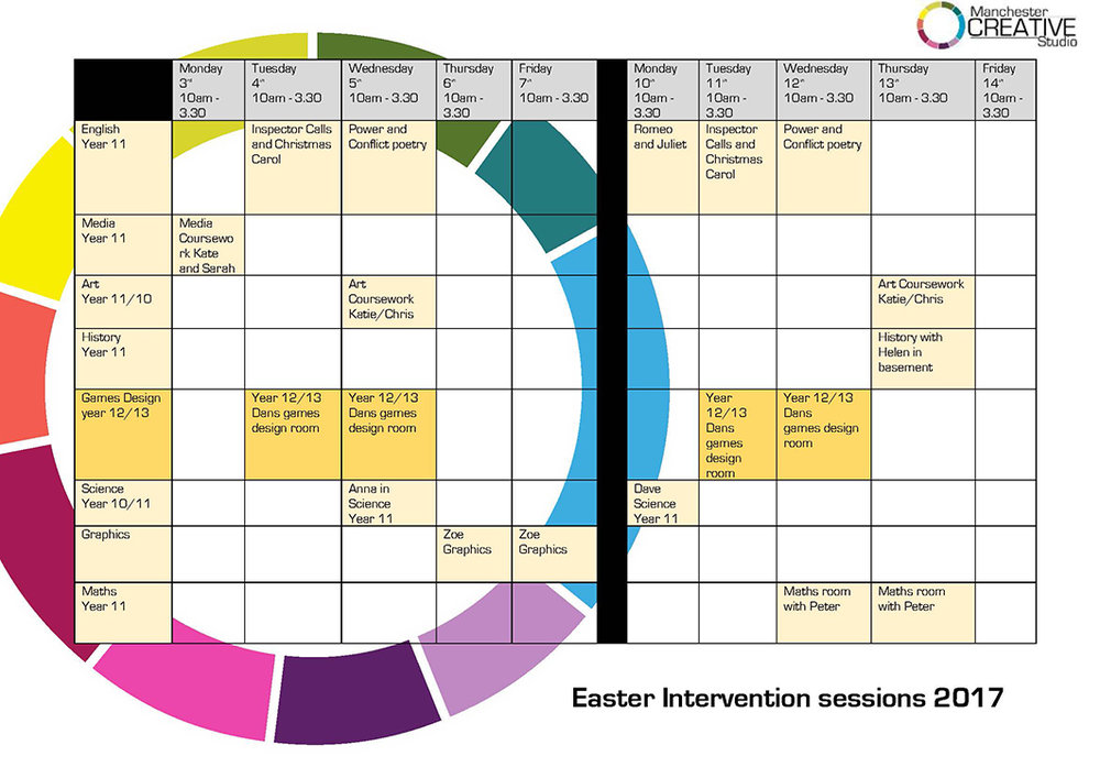 MCS GCSE revision and intervention timetable