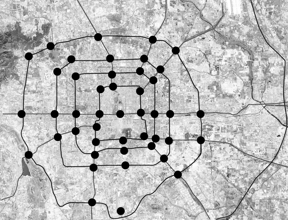 By studying the structure of spider web, combined the Beijing city grid, we begin to think about our tower arrangement. The arrangement should not only serve locally, but should also work as a whole. Each tower shall be able to communicate with each other and distribute according to the changes of the environment.