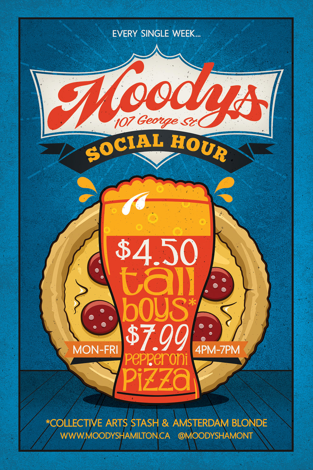 $4.50 tall cans of Stash & Amsterdam Blonde along side $7.99 pepperoni pizzas every weekday 4pm-7pm