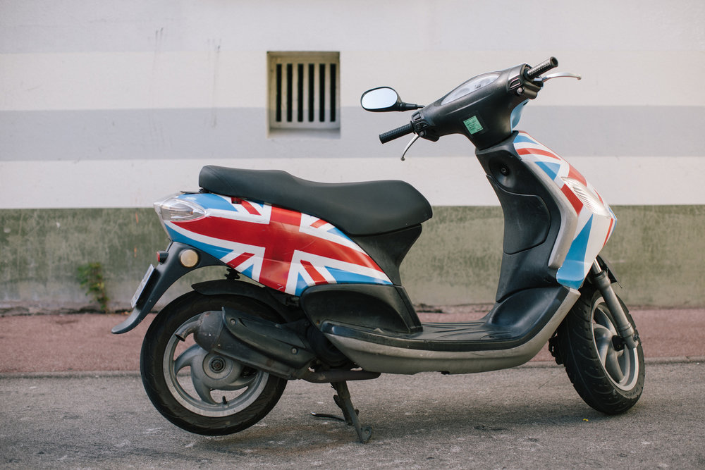 A moped hand-painted with the Union Jack flag   Photograph: Rob Pinney for Point.51