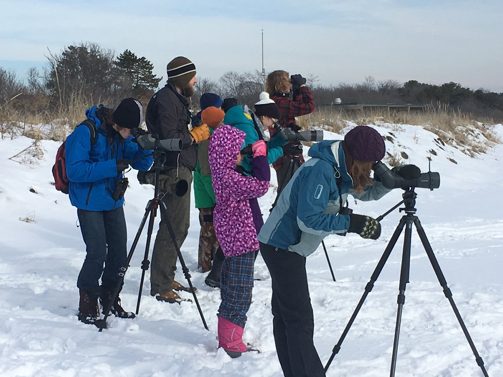 Dyer Point birding.  Photo by kind passerby