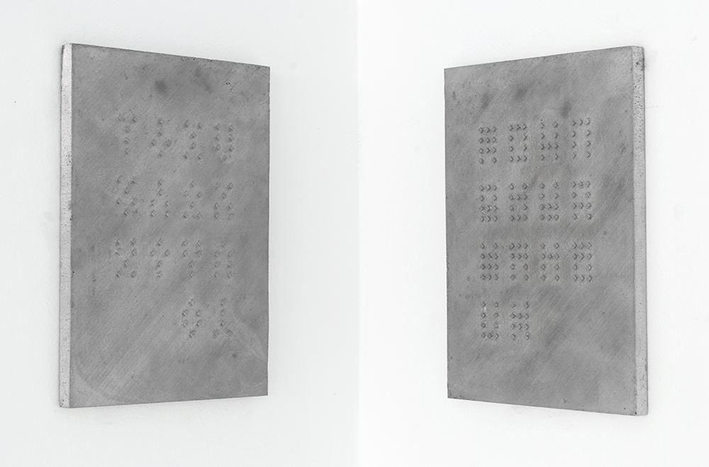 Richard clements The Judge, 2012 sand cast aluminium 25cm x 17cm x 1cm (each)