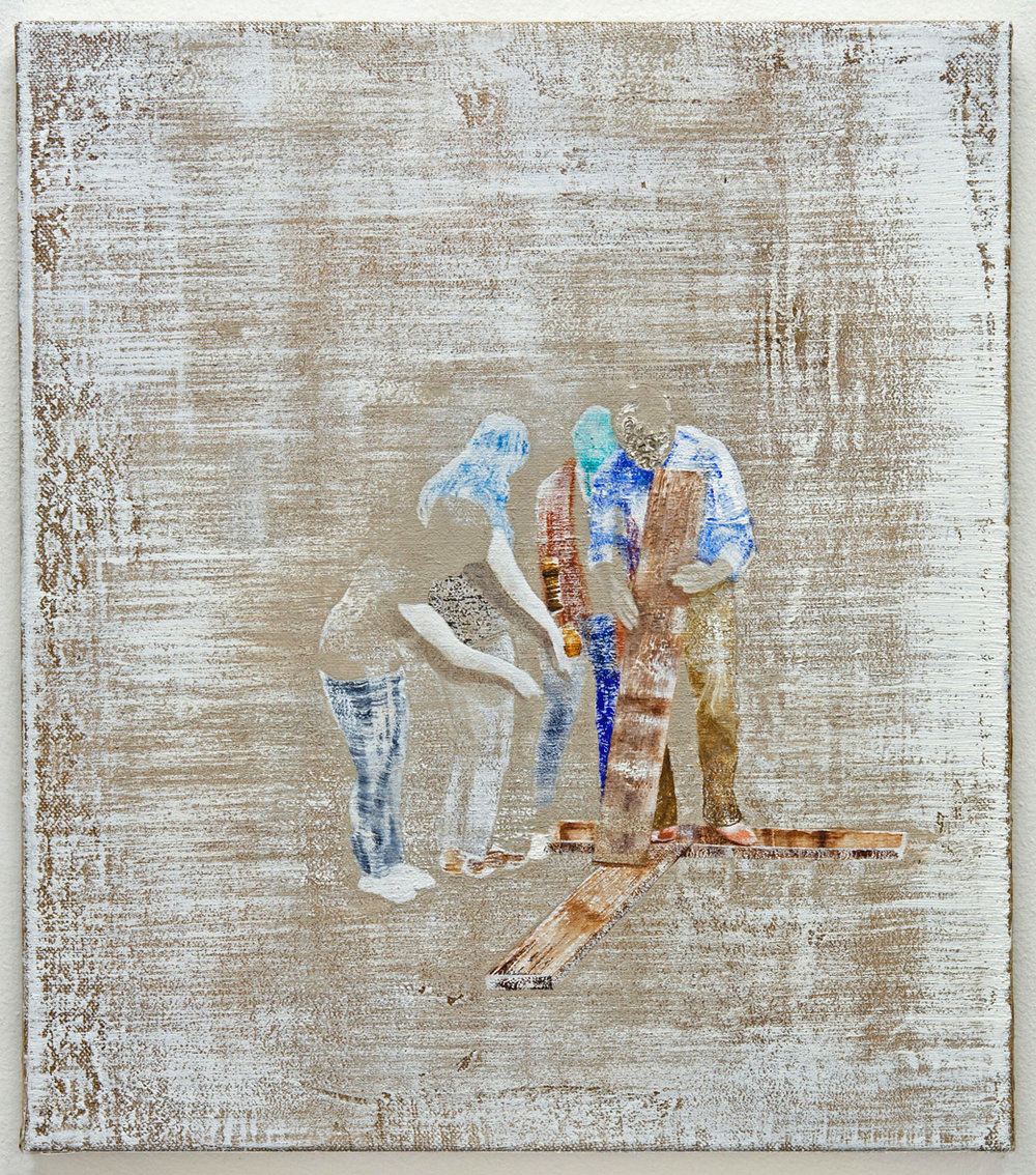simon willems  Our work is not yet done #6,  2016 Oil and acrylic paste on linen 40 x 35 cm