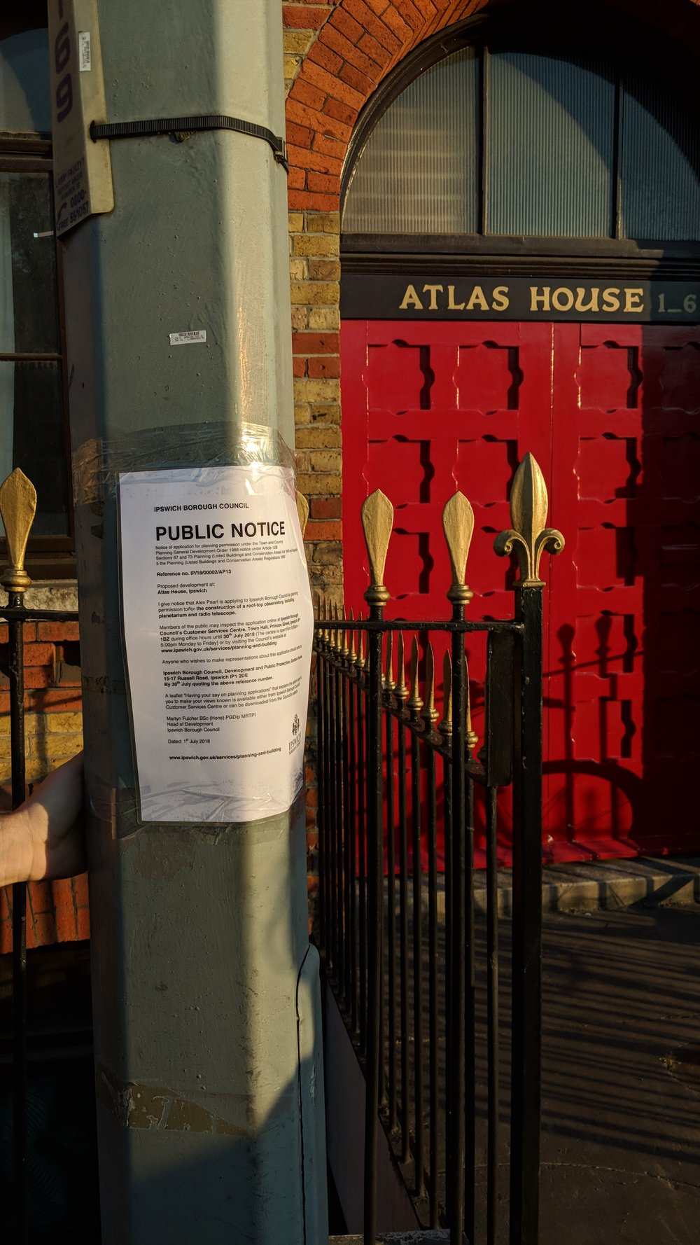 Alex Pearl,  Wondering Ipswich , 2018 Planning permission sign installed outside Atlas House for the construction of a rooftop observatory, including planetarium and radio telescope.