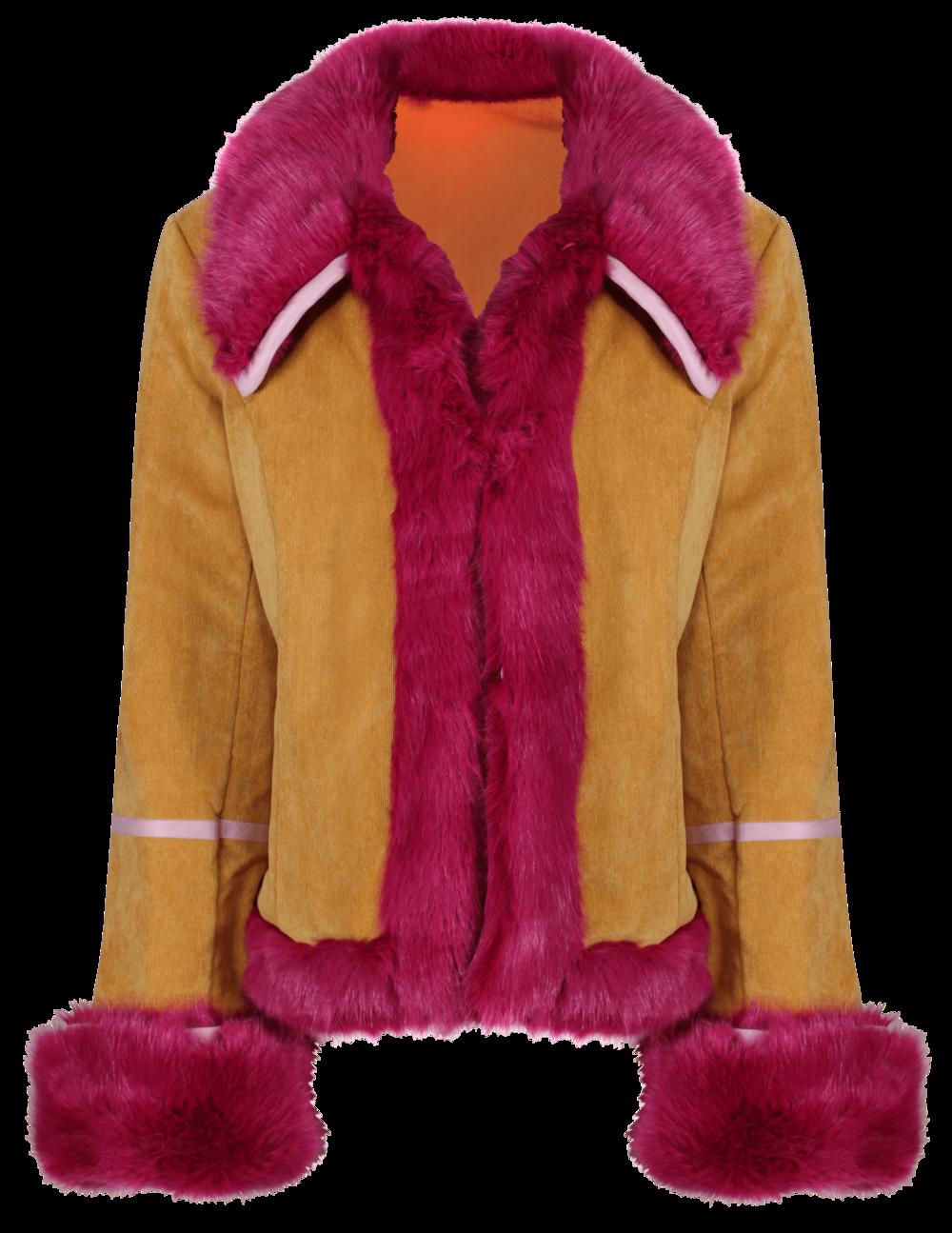 Electra coat -  Mustard CORD x ORANGE SUEDE - SHOP NOW