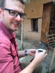 Brian enjoying fresh roasted and ground coffee at a traditional Ethiopian coffee ceremony.