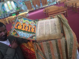 A page from a 300 year old bible used daily in prayer services at St. Mary Zion Church in Axum, Ethiopia
